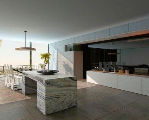 Porcelain Tile Floor in Kitchen